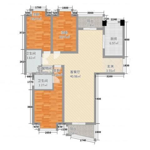 中创泰和苑3室1厅2卫1厨143.00㎡户型图