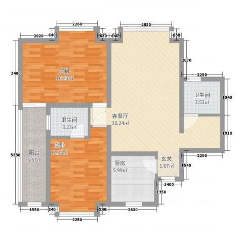 中创泰和苑2室1厅2卫1厨113.00㎡户型图