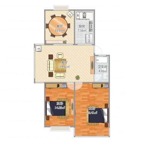 武定新村2室2厅1卫1厨109.00㎡户型图