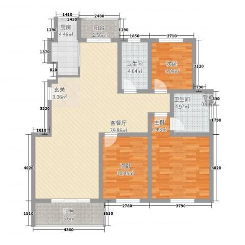 江南春天3室1厅2卫1厨138.00㎡户型图