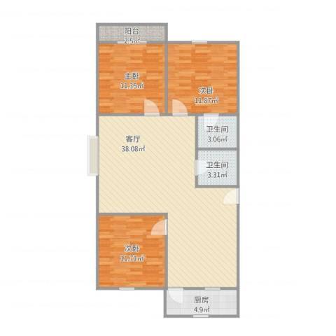 金色阳光花园3室1厅2卫1厨116.00㎡户型图