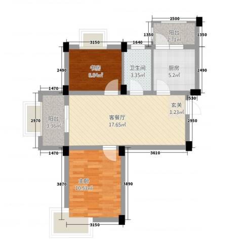 龙隐水庄2室1厅1卫1厨73.00㎡户型图