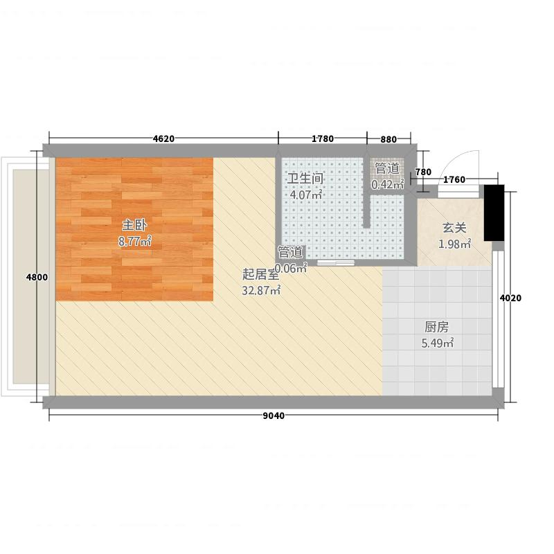 甲克虫公寓53.23㎡户型
