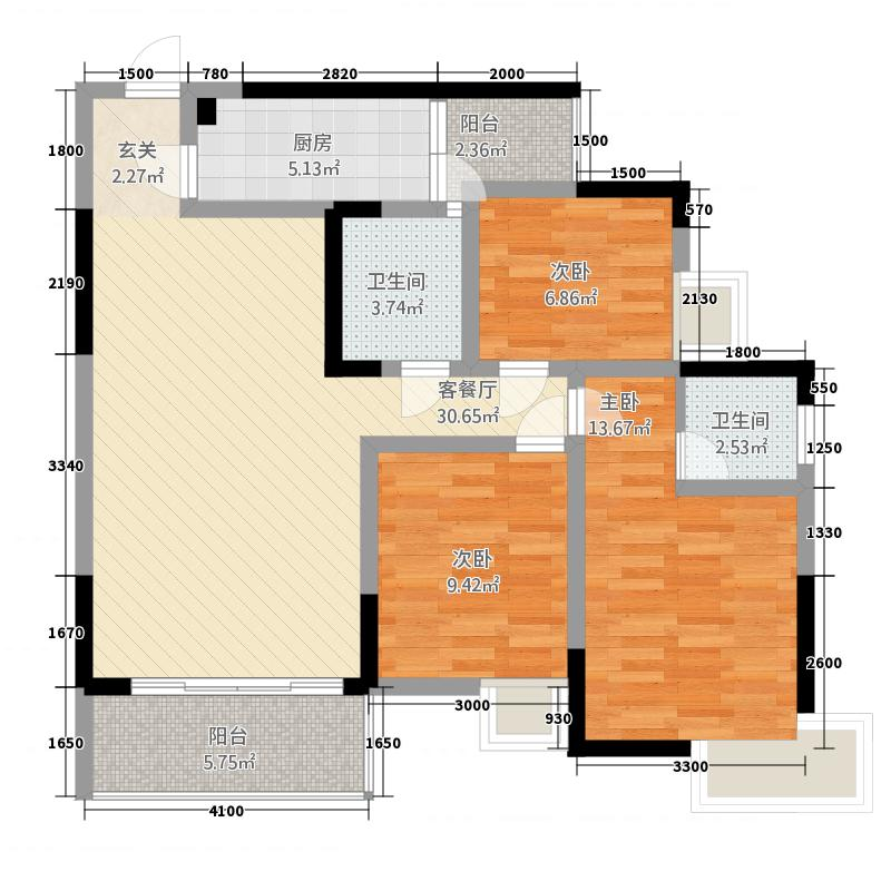 巨林・天下城115.11㎡9号楼1号房户型3室2厅2卫1厨
