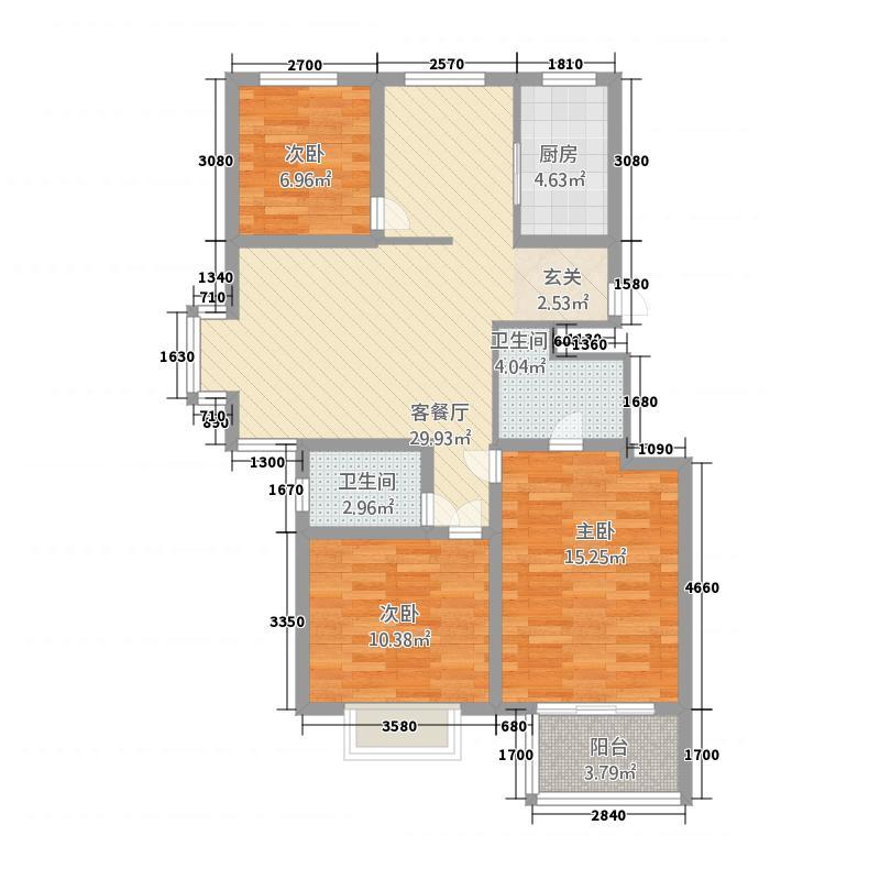 腾跃苑32113.32㎡F户型3室2厅2卫1厨