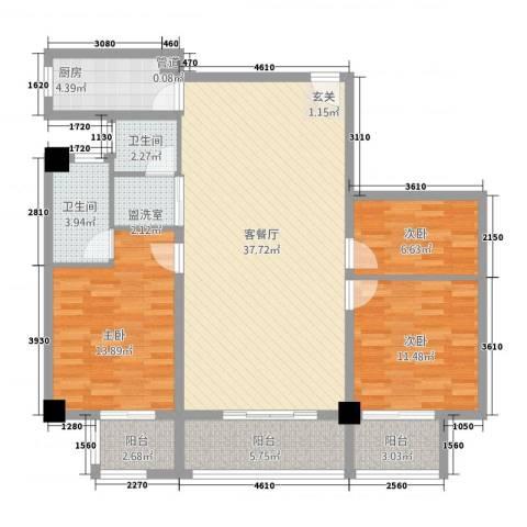 朝阳广场3室2厅2卫1厨135.00㎡户型图