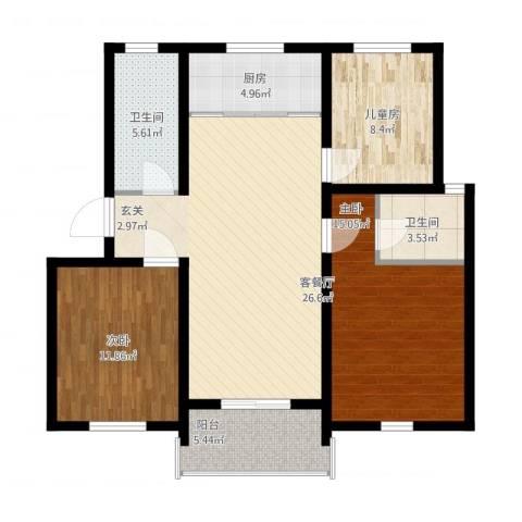 文贤苑3室1厅2卫1厨116.00㎡户型图