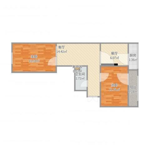 河东万达广场2室2厅2卫1厨74.00㎡户型图