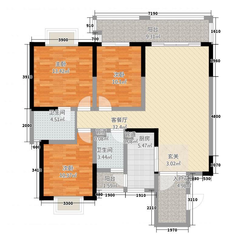 财信上河新界322117.19㎡3-2-2户型3室2厅2卫1厨