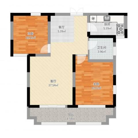 蓝鼎海棠湾2室1厅1卫1厨99.00㎡户型图