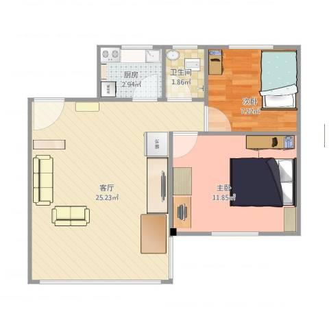 丰泽园2室1厅1卫1厨66.00㎡户型图