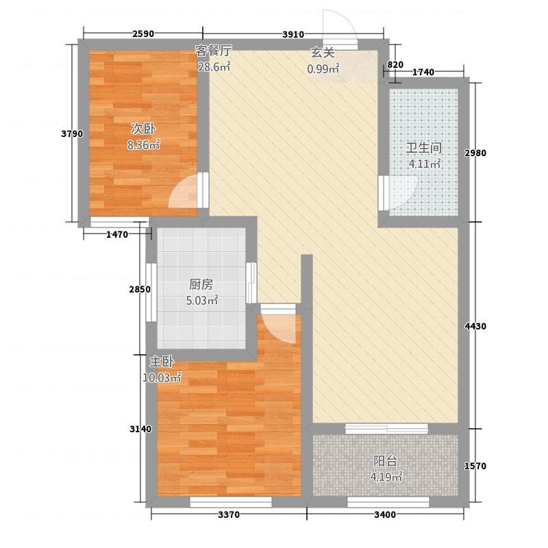 大华中央城488.20㎡高层4户型2室2厅1卫1厨
