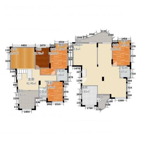鸿越瑞�花园4室1厅3卫1厨225.00㎡户型图