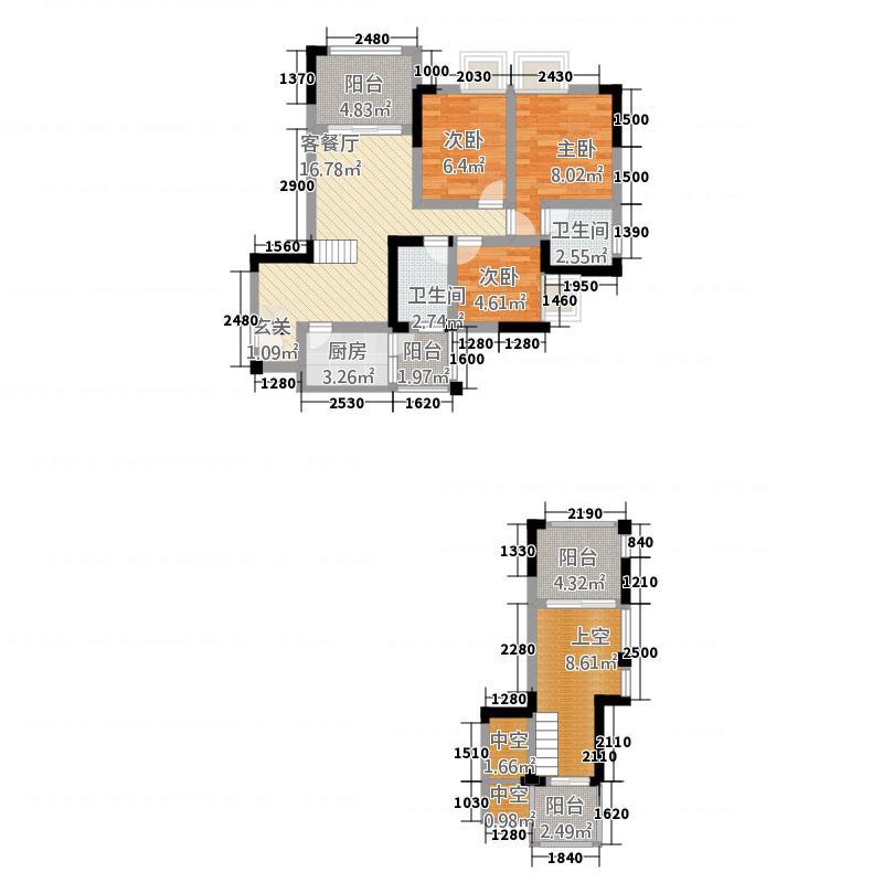 南方・大学时代一期清华苑15.60㎡C跃层双卫双阳台户型3室2厅2卫