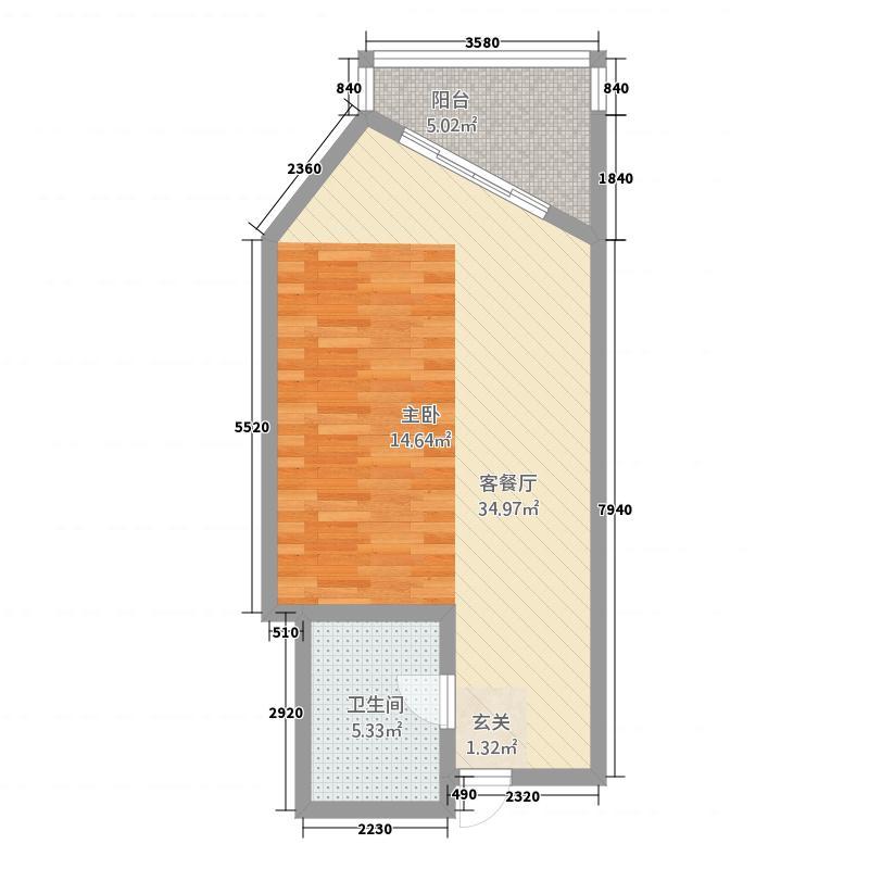 三亚君锦滨海酒店64.00㎡1号楼K1户型1室1卫