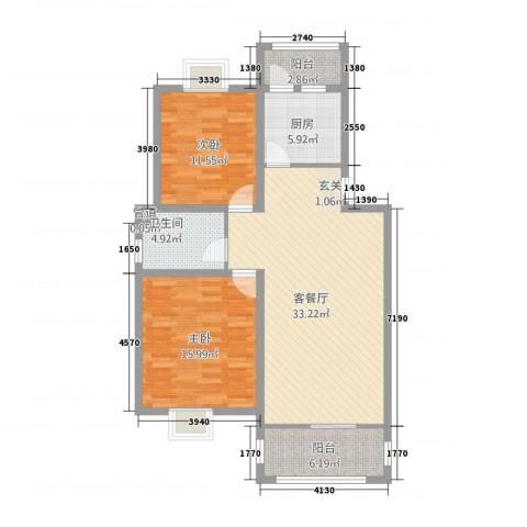 高林水乡花园2室1厅1卫1厨113.00㎡户型图