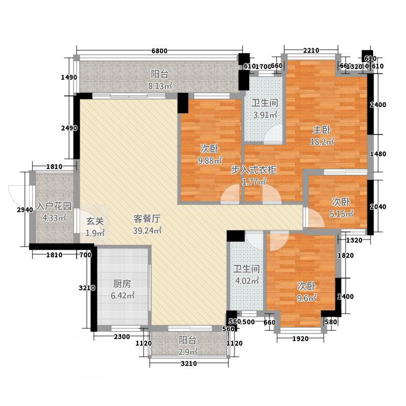 龙腾豪园5144.84㎡一期5号楼标准层02户型3室2厅2卫1厨