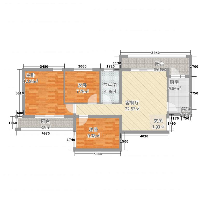 乐宅132114.44㎡1户型3室2厅1卫1厨