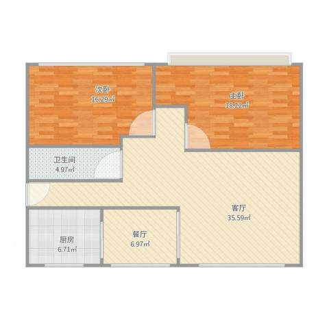 长德公寓2室2厅1卫1厨119.00㎡户型图