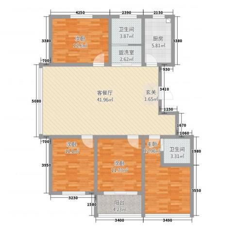 中阳・渤海花园4室2厅2卫1厨148158.00㎡户型图