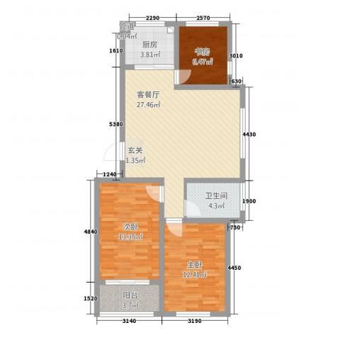 大唐福苑3室1厅1卫1厨1234.00㎡户型图