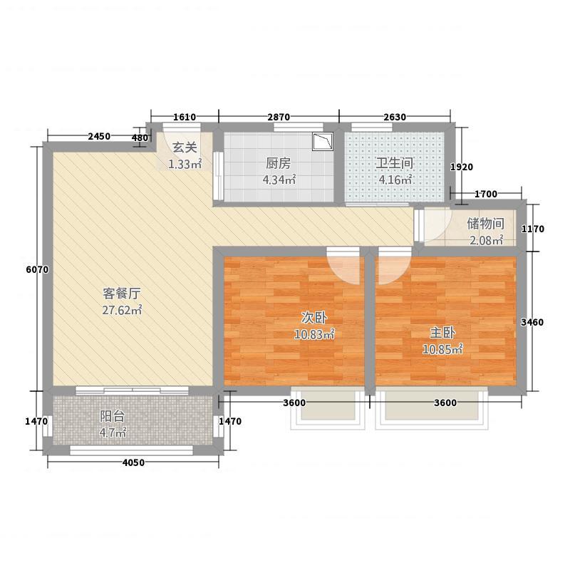 润洋壹品24.20㎡户型2室2厅1卫1厨