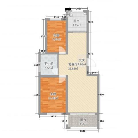 大唐福苑2室1厅1卫1厨2388.00㎡户型图