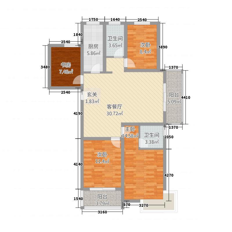 丰盛中央花园135.20㎡F户型4室2厅2卫1厨