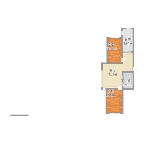 丽晶公馆2室1厅1卫1厨79.00㎡户型图