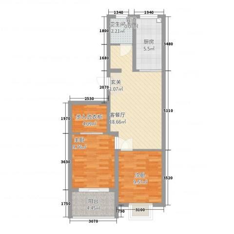 中安翡翠苑2室1厅1卫1厨1279.00㎡户型图