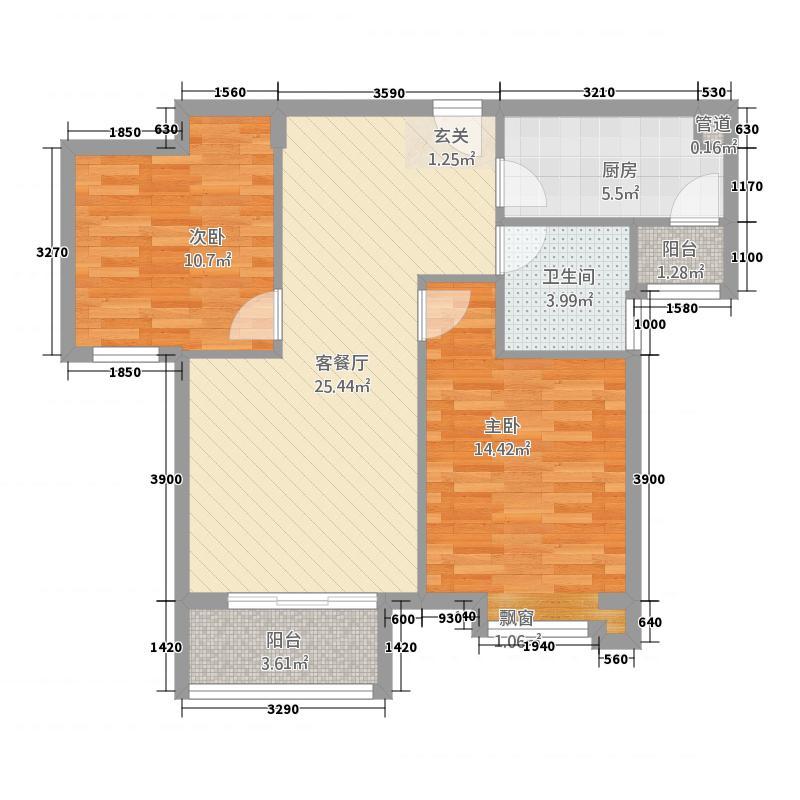 国雅城2521.20㎡2#楼B5户型2室2厅1卫1厨