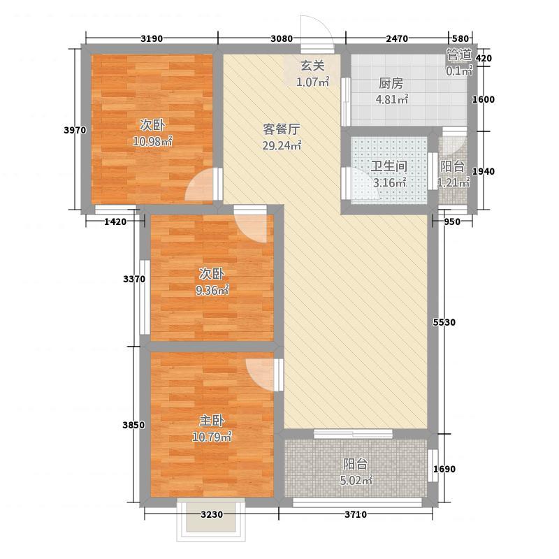 上东城3218.85㎡户型3室2厅2卫1厨