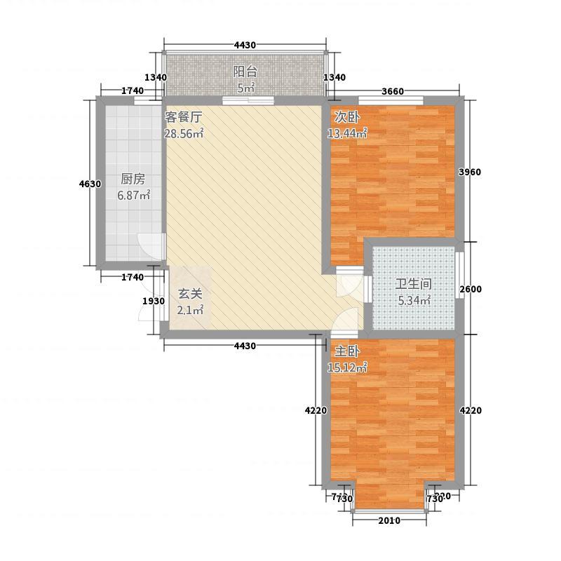 临夏中天健广场15.20㎡临夏・中天健广场A1-2-2-1-户型2室2厅1卫1厨