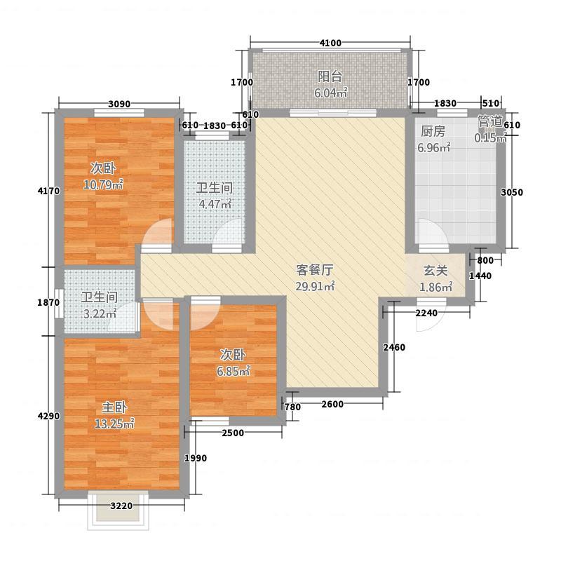 上东城32118.15㎡户型3室2厅2卫1厨