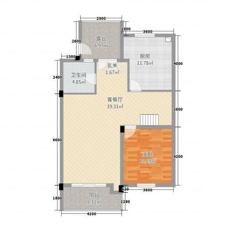 卡布其诺1室1厅1卫1厨115.00㎡户型图