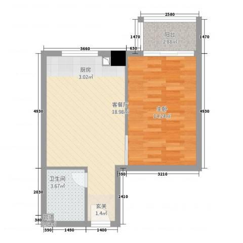 朝阳广场1室1厅1卫0厨57.00㎡户型图