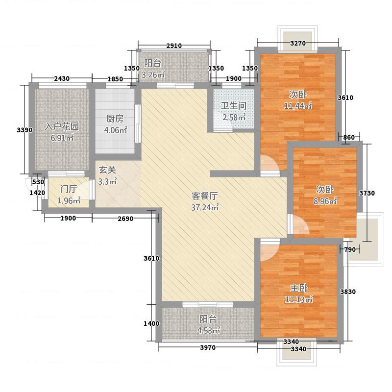 西湖天地133.60㎡z3-1户型3室2厅1卫1厨
