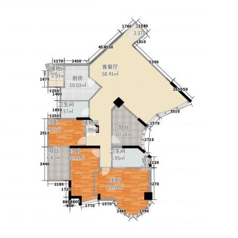 国源滨北国际(集友广场)3室1厅2卫1厨198.00㎡户型图