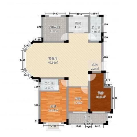 高速秋浦天地3室1厅2卫1厨141.00㎡户型图