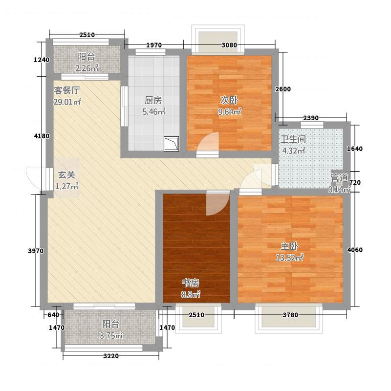 自由都市112.00㎡二期15#楼A3户型3室2厅1卫1厨
