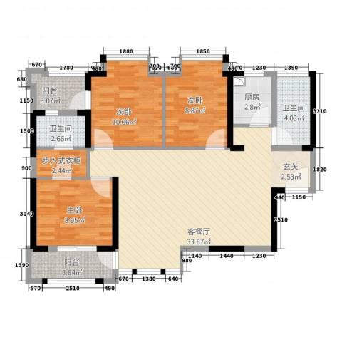 华尔国际3室1厅2卫1厨3115.00㎡户型图