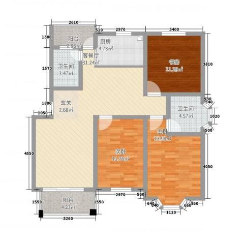 博雅景园3室1厅2卫1厨128.00㎡户型图