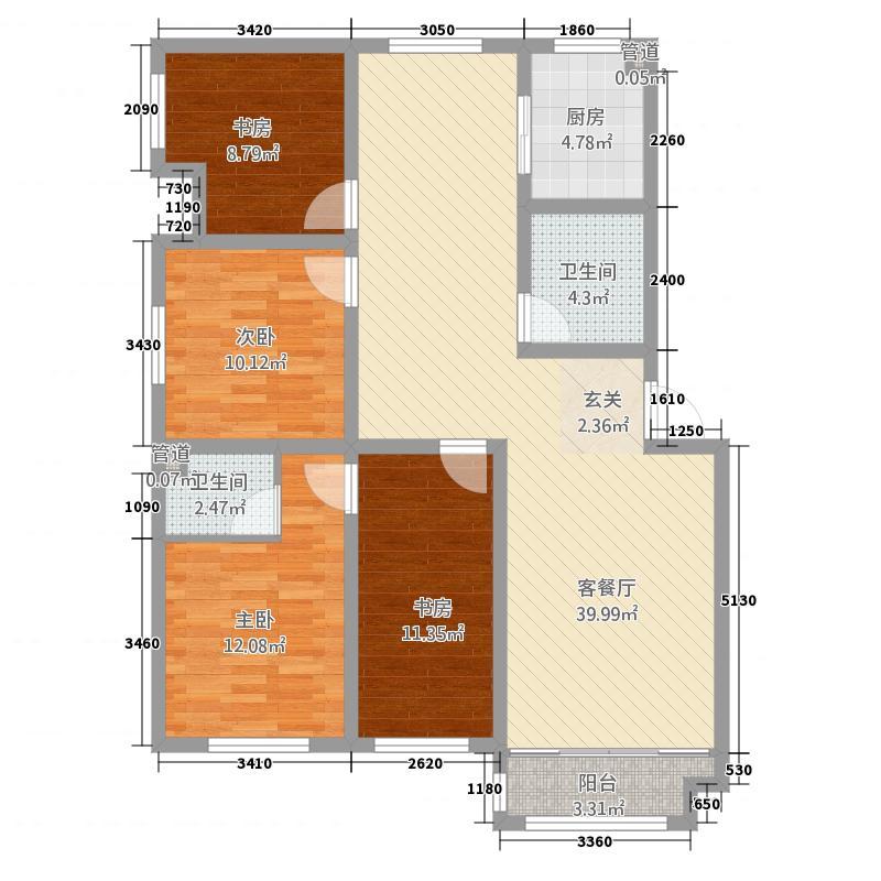 圣地亚哥1414.51㎡圣地C户型4室2厅2卫1厨