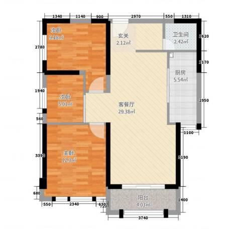华尔国际3室1厅1卫1厨67.86㎡户型图