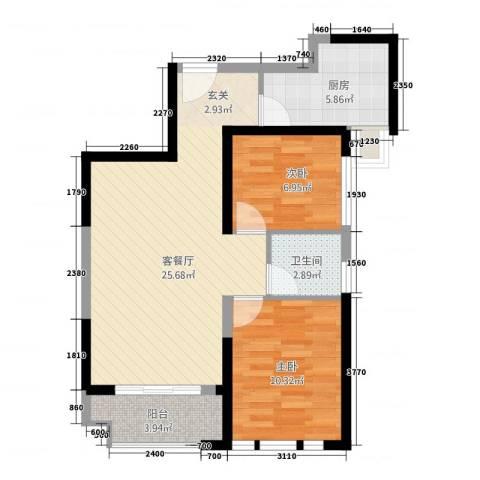 华尔国际2室1厅1卫1厨281.00㎡户型图
