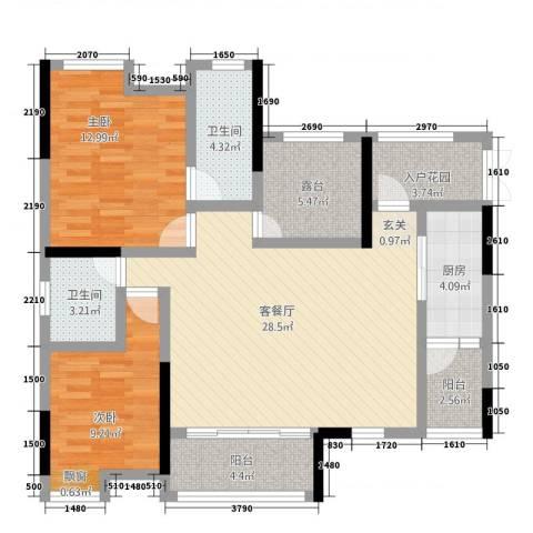 鸥鹏・天境2室1厅2卫1厨2315.00㎡户型图
