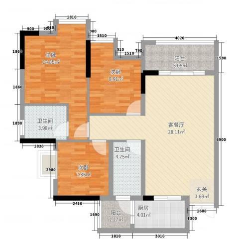 鸥鹏・天境3室1厅2卫1厨33112.00㎡户型图