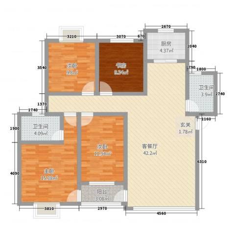 湖东花城首府4室1厅2卫1厨104.11㎡户型图