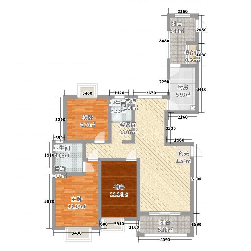 自由都市134.00㎡二期15#楼E1户型3室2厅2卫1厨