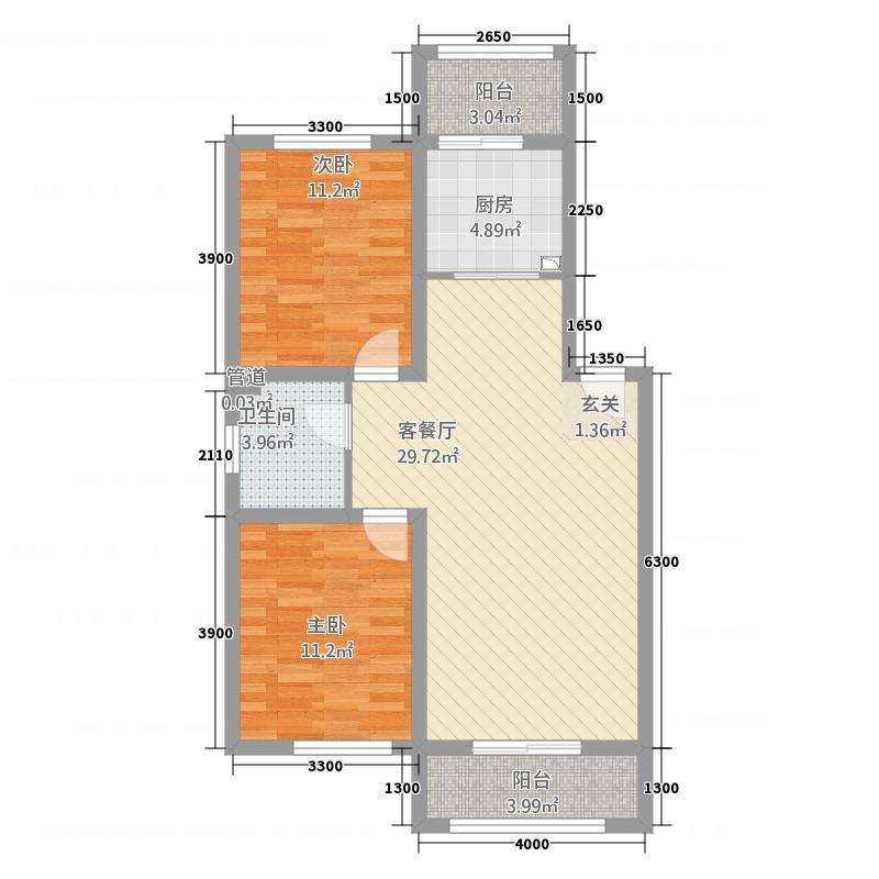 迪益紫槿花22118586.00㎡户型2室2厅1卫1厨